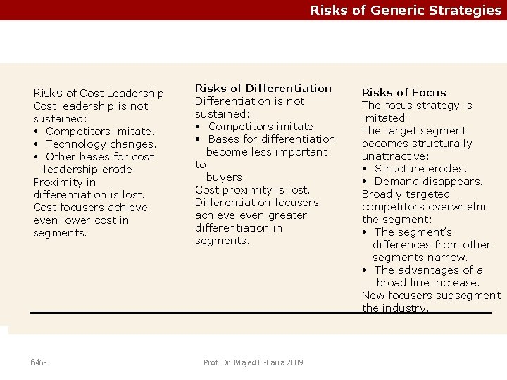 Risks of Generic Strategies Risks of Cost Leadership Cost leadership is is not Cost