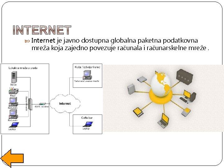 Internet je javno dostupna globalna paketna podatkovna mreža koja zajedno povezuje računala i