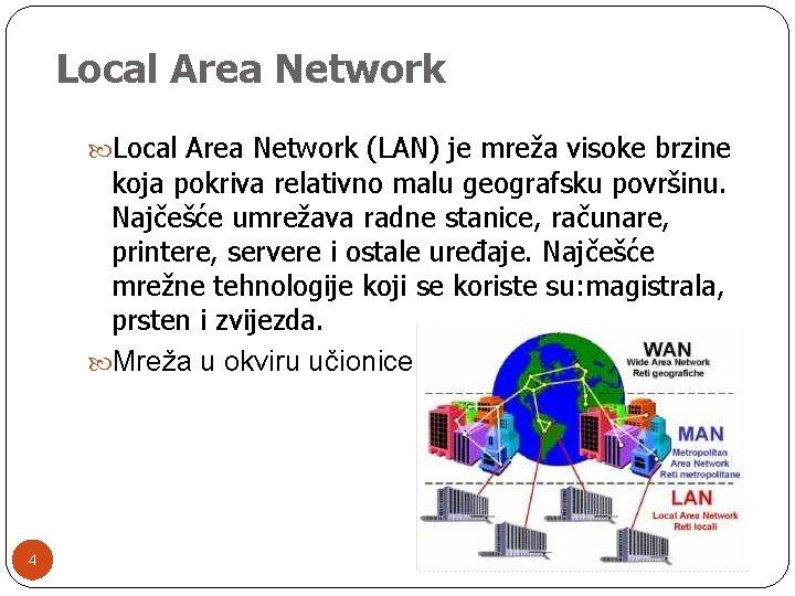 Local Area Network (LAN) je mreža visoke brzine koja pokriva relativno malu geografsku površinu.