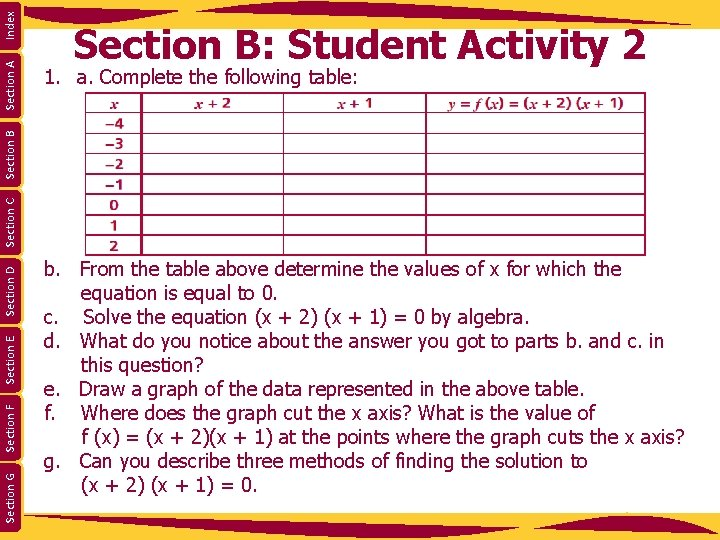 1. a. Complete the following table: Index Section G Section F Section E Section