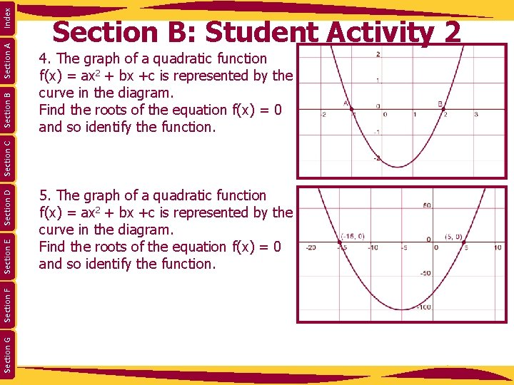 Index Section A 4. The graph of a quadratic function f(x) = ax 2