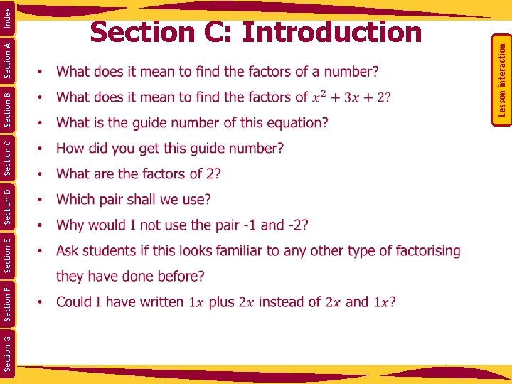 Section G Section F Section E Section D Section C Section A Lesson interaction