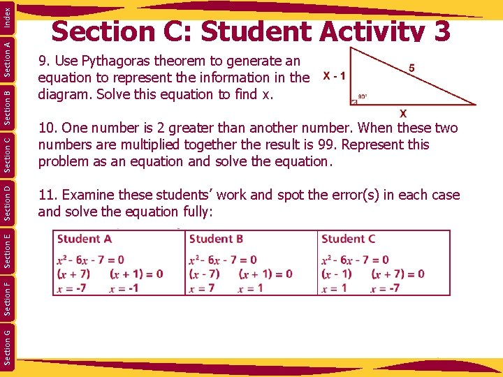 Index Section A 10. One number is 2 greater than another number. When these