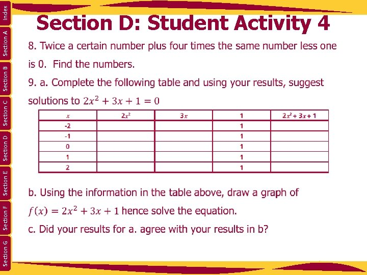 Section G Section F Section E Section D Section C Section B Section A