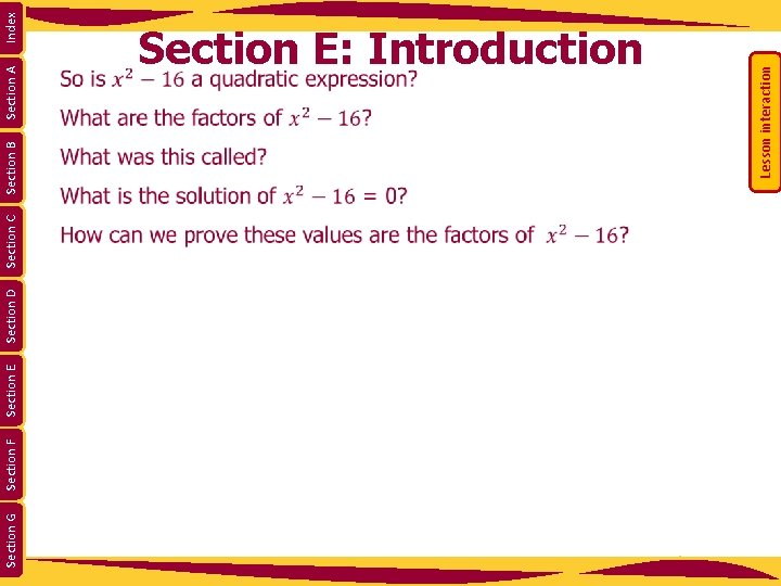 Section G Section F Section E Section D Section C Section A Index Section