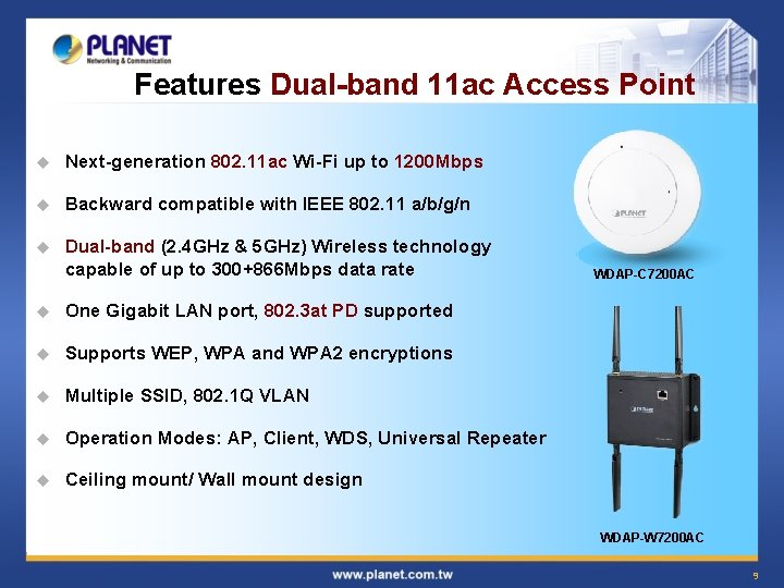 Features Dual-band 11 ac Access Point u Next-generation 802. 11 ac Wi-Fi up to