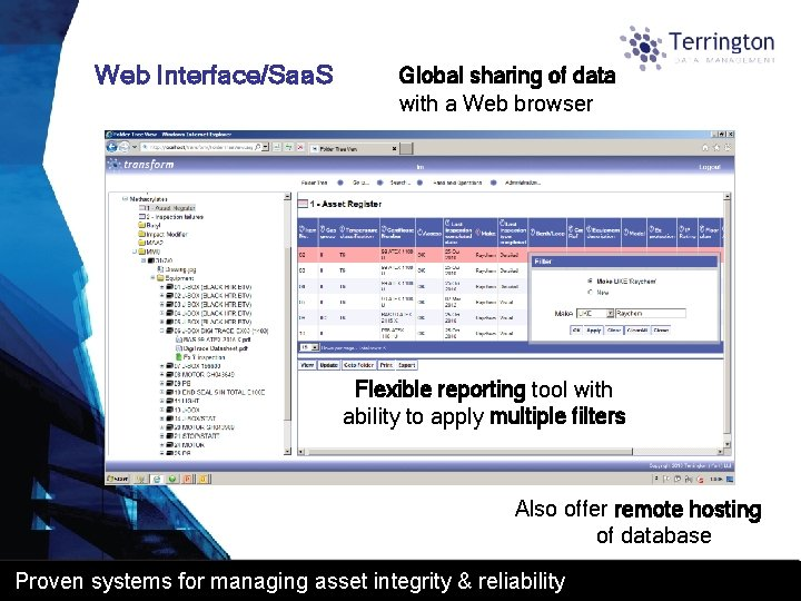 Web Interface/Saa. S Global sharing of data with a Web browser Flexible reporting tool