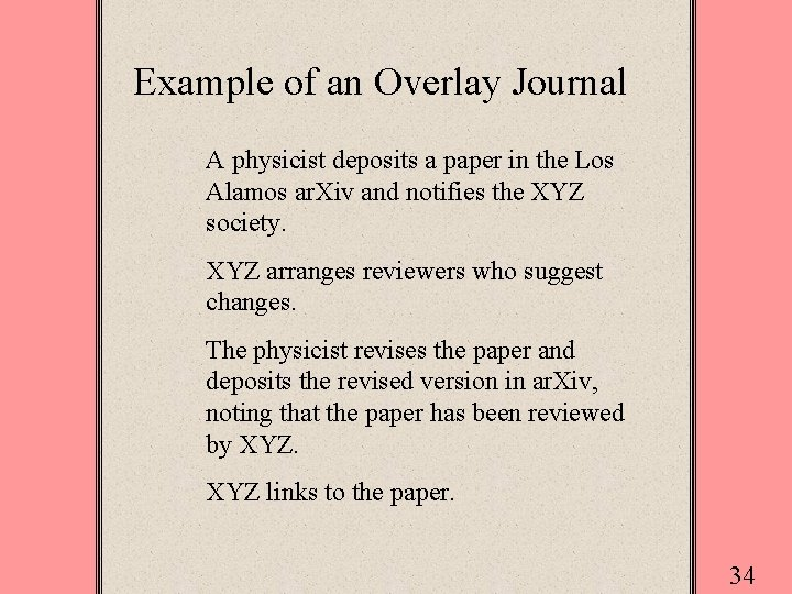 Example of an Overlay Journal A physicist deposits a paper in the Los Alamos