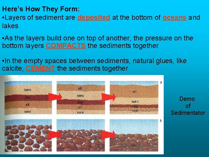 Here's How They Form: • Layers of sediment are deposited at the bottom of