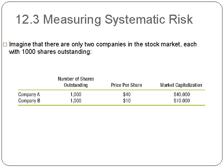 12. 3 Measuring Systematic Risk � Imagine that there are only two companies in