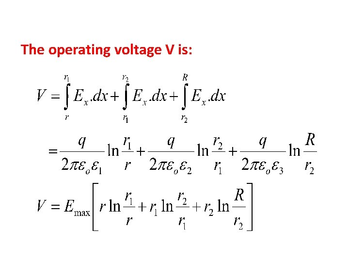 The operating voltage V is: