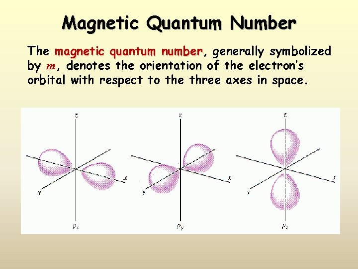 Magnetic Quantum Number The magnetic quantum number, number generally symbolized by m, denotes the