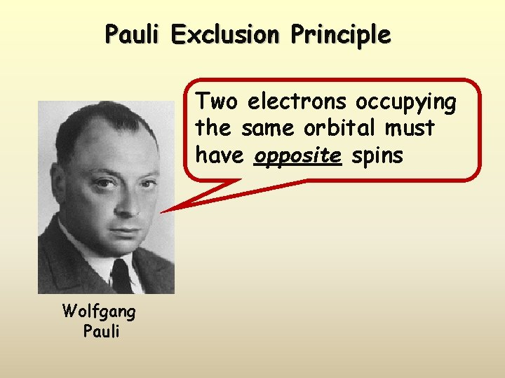 Pauli Exclusion Principle Two electrons occupying the same orbital must have opposite spins Wolfgang