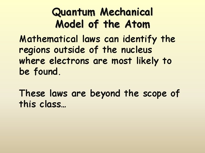 Quantum Mechanical Model of the Atom Mathematical laws can identify the regions outside of