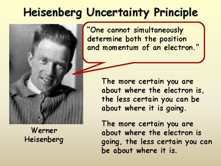 """Heisenberg Uncertainty Principle """"One cannot simultaneously determine both the position and momentum of an"""