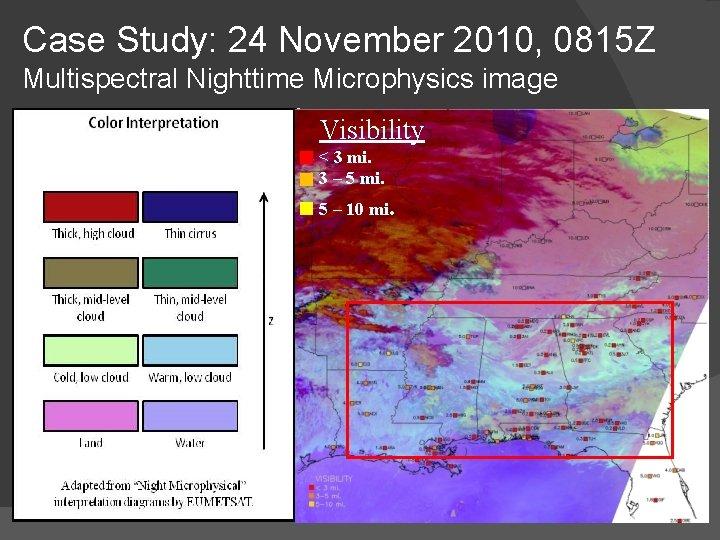 Case Study: 24 November 2010, 0815 Z Multispectral Nighttime Microphysics image Visibility < 3