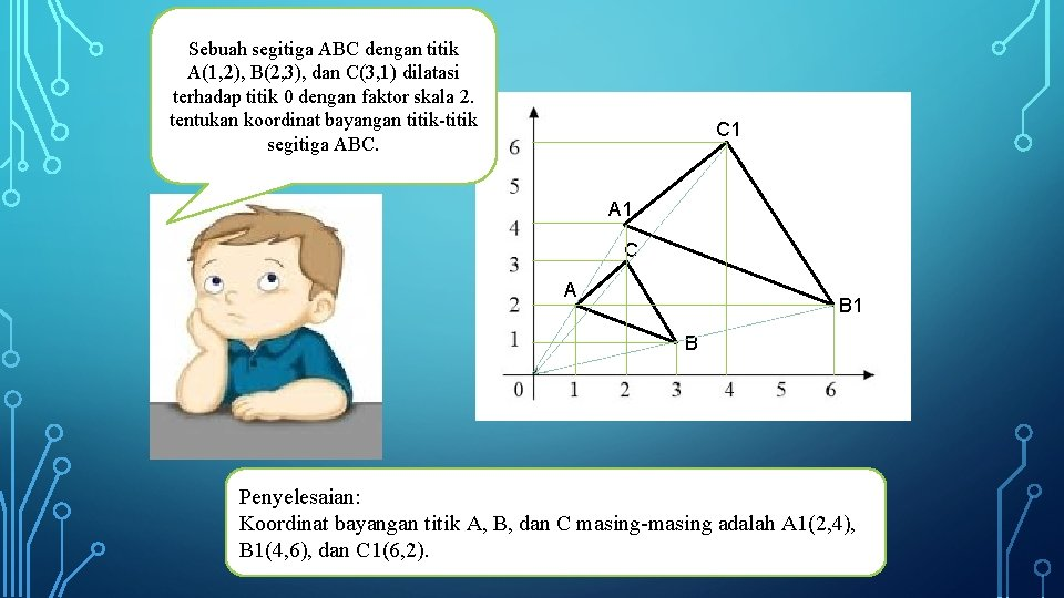 Sebuah segitiga ABC dengan titik A(1, 2), B(2, 3), dan C(3, 1) dilatasi terhadap