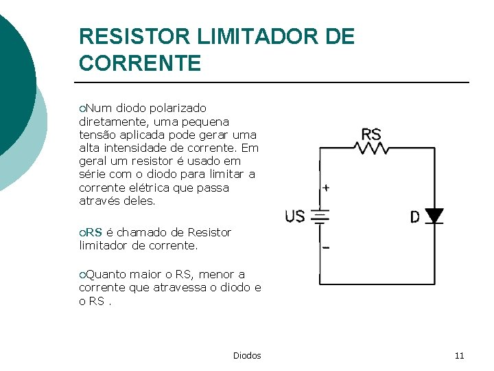 RESISTOR LIMITADOR DE CORRENTE ¡Num diodo polarizado diretamente, uma pequena tensão aplicada pode gerar