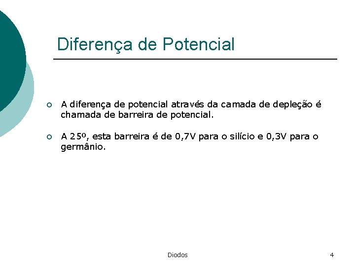Diferença de Potencial o A diferença de potencial através da camada de depleção é