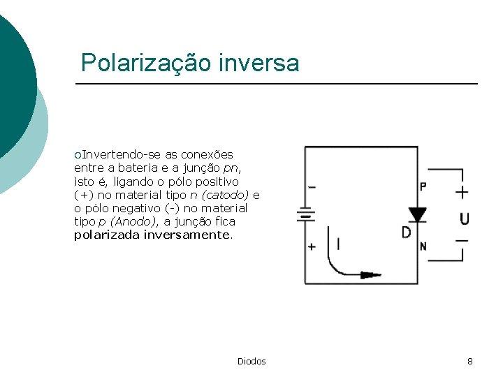 Polarização inversa ¡Invertendo-se as conexões entre a bateria e a junção pn, isto é,