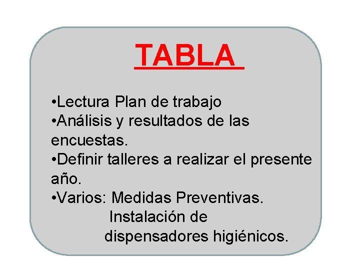 TABLA • Lectura Plan de trabajo • Análisis y resultados de las encuestas. •