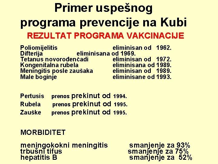 Primer uspešnog programa prevencije na Kubi REZULTAT PROGRAMA VAKCINACIJE Poliomijelitis eliminisan od 1962. Difterija