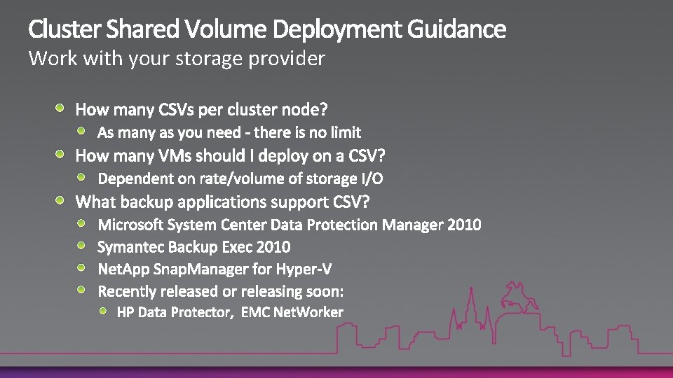Work with your storage provider