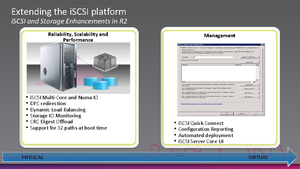 Extending the i. SCSI platform i. SCSI and Storage Enhancements in R 2 Reliability,