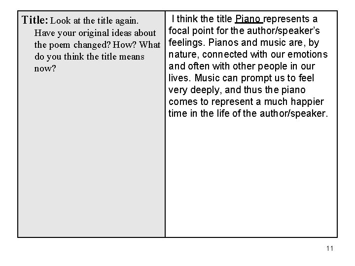I think the title Piano represents a Have your original ideas about focal point