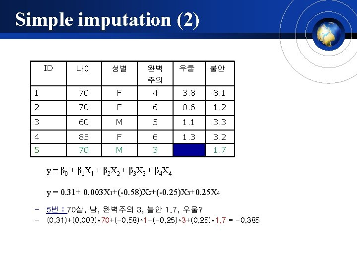 Simple imputation (2) ID 나이 성별 완벽 주의 우울 불안 1 70 F 4