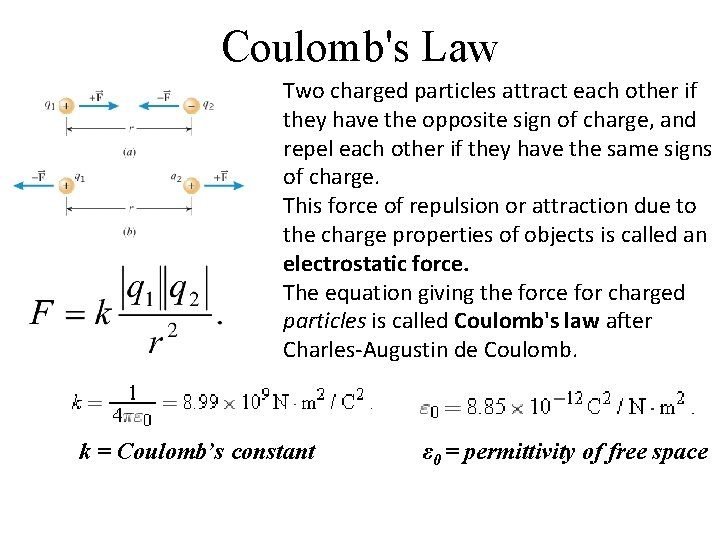 Coulomb's Law Two charged particles attract each other if they have the opposite sign