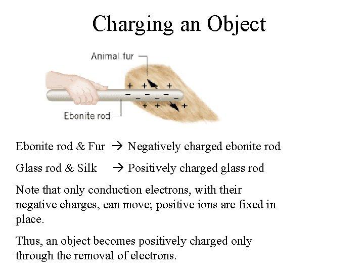 Charging an Object Ebonite rod & Fur Negatively charged ebonite rod Glass rod &