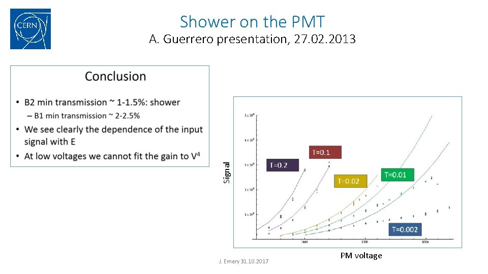Shower on the PMT Signal A. Guerrero presentation, 27. 02. 2013 J. Emery 31.