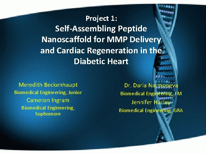 Project 1: Self-Assembling Peptide Nanoscaffold for MMP Delivery and Cardiac Regeneration in the Diabetic