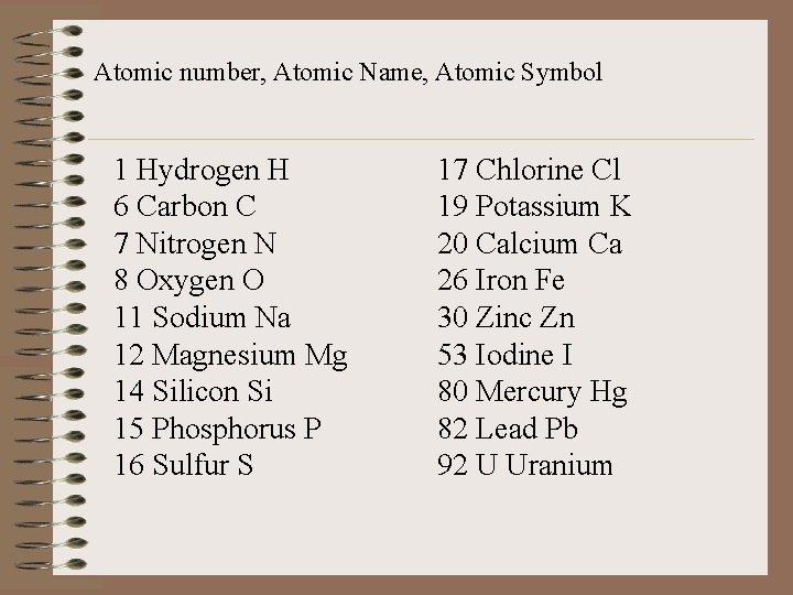 Atomic number, Atomic Name, Atomic Symbol 1 Hydrogen H 6 Carbon C 7 Nitrogen