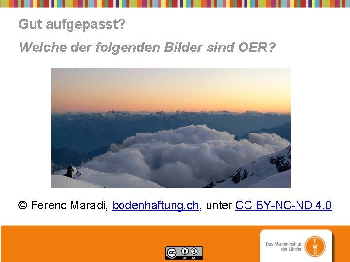 Gut aufgepasst? Welche der folgenden Bilder sind OER? © Ferenc Maradi, bodenhaftung. ch, unter