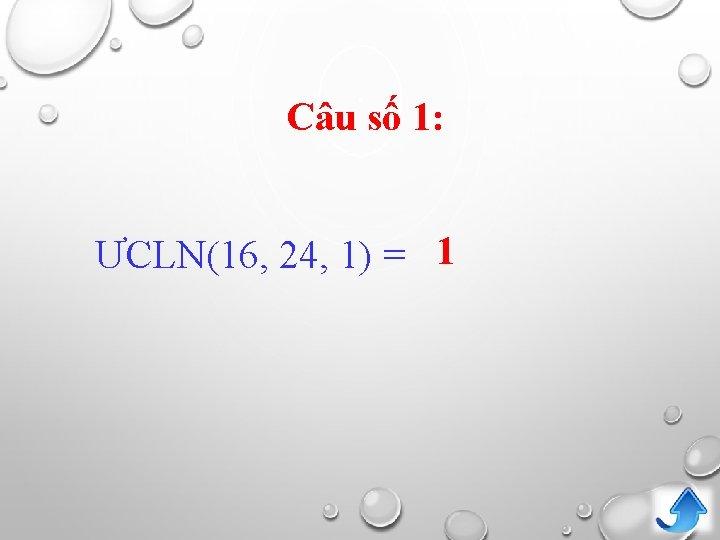 Câu số 1: ƯCLN(16, 24, 1) = 1