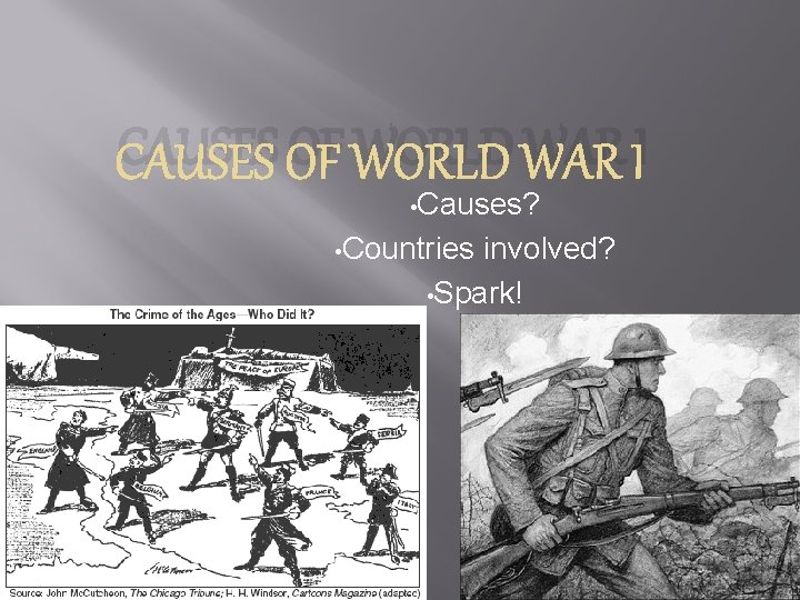 CAUSES OF WORLD WAR I • Causes? • Countries involved? • Spark!