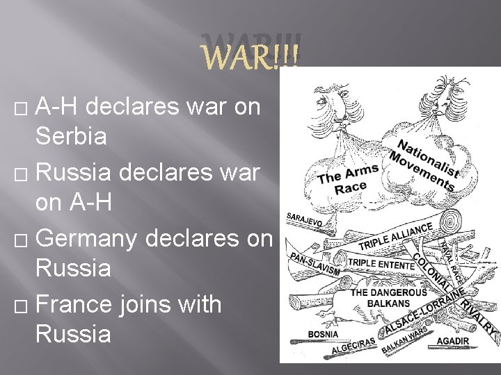 WAR!!! A-H declares war on Serbia � Russia declares war on A-H � Germany