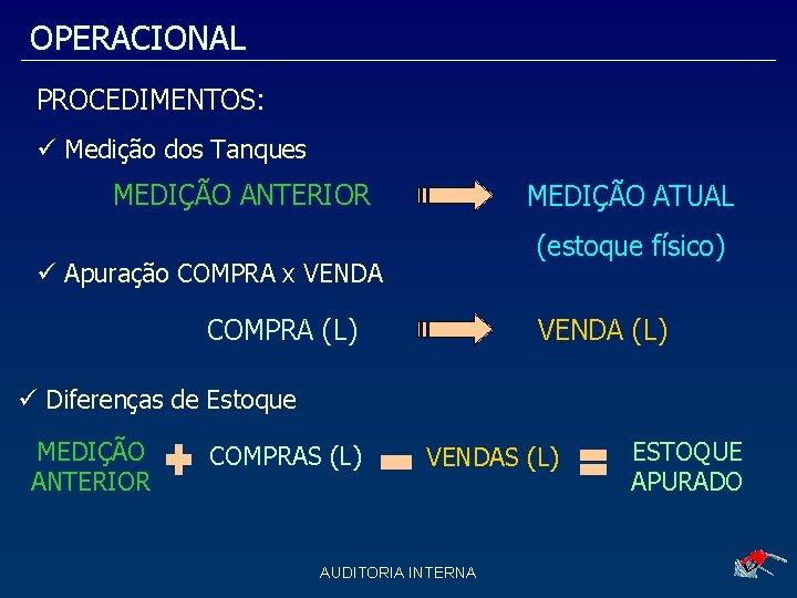 OPERACIONAL PROCEDIMENTOS: Medição dos Tanques MEDIÇÃO ANTERIOR MEDIÇÃO ATUAL (estoque físico) Apuração COMPRA x