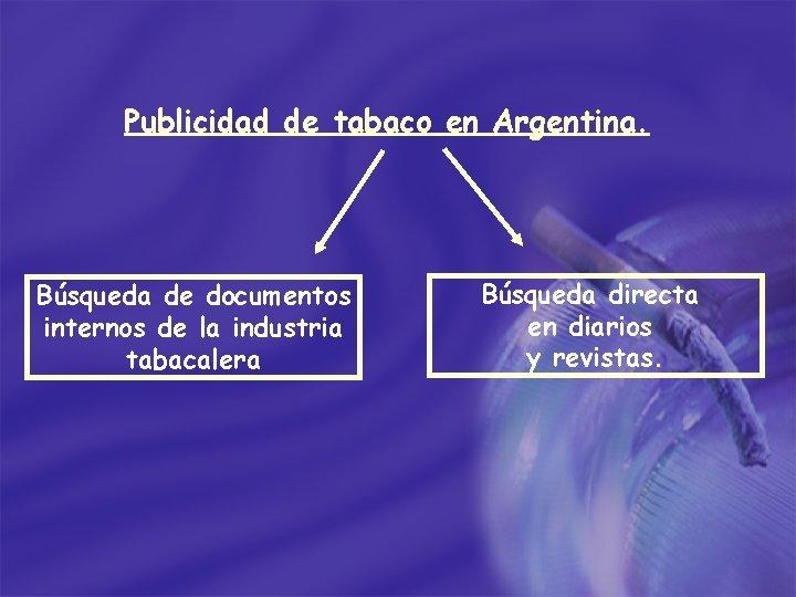 Publicidad de tabaco en Argentina. Búsqueda de documentos internos de la industria tabacalera Búsqueda