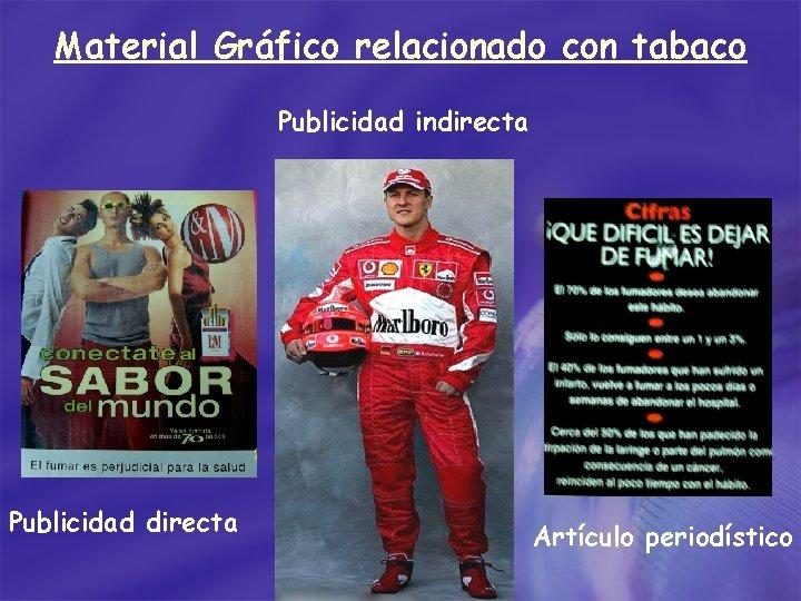 Material Gráfico relacionado con tabaco Publicidad indirecta Publicidad directa Artículo periodístico