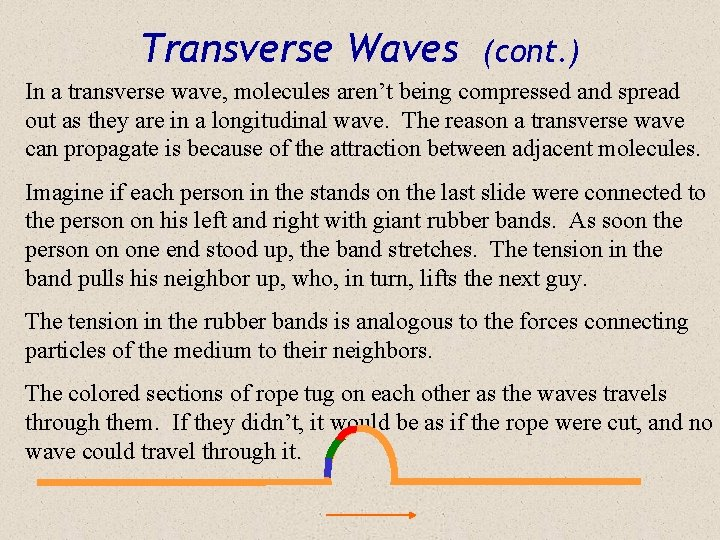 Transverse Waves (cont. ) In a transverse wave, molecules aren't being compressed and spread