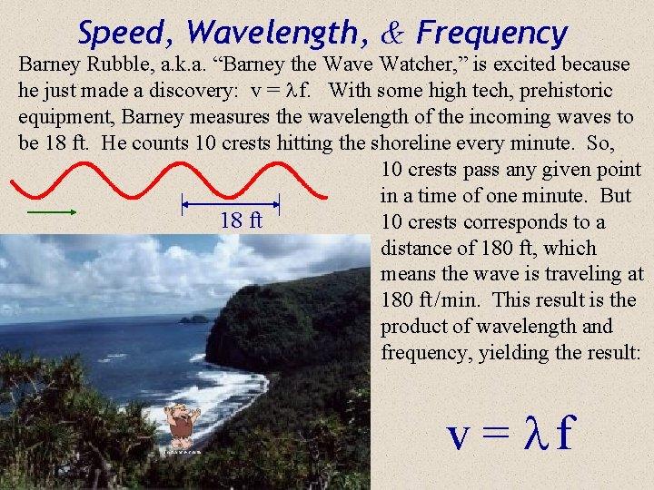 """Speed, Wavelength, & Frequency Barney Rubble, a. k. a. """"Barney the Wave Watcher, """""""