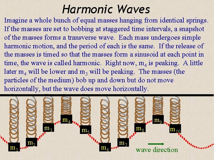 Harmonic Waves Imagine a whole bunch of equal masses hanging from identical springs. If
