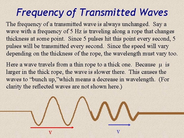 Frequency of Transmitted Waves The frequency of a transmitted wave is always unchanged. Say