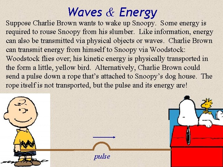 Waves & Energy Suppose Charlie Brown wants to wake up Snoopy. Some energy is
