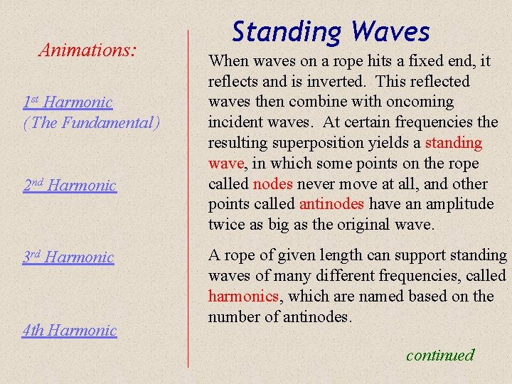 Animations: 1 st Harmonic ( The Fundamental ) 2 nd Harmonic 3 rd Harmonic