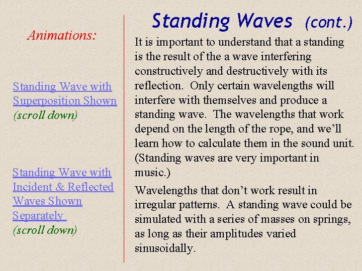 Animations: Standing Wave with Superposition Shown (scroll down) Standing Wave with Incident & Reflected