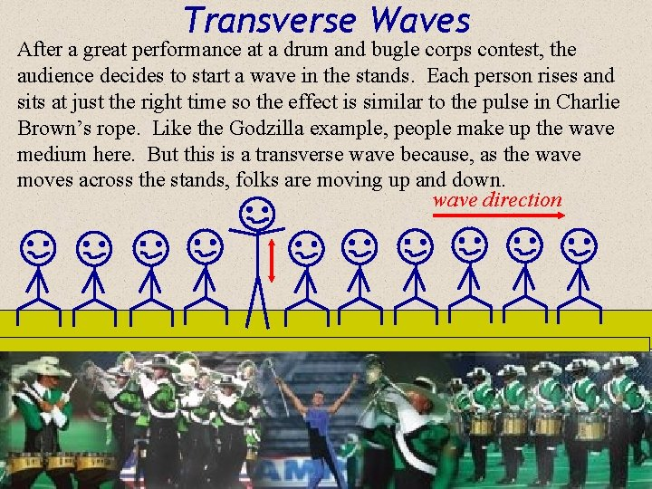 Transverse Waves After a great performance at a drum and bugle corps contest, the